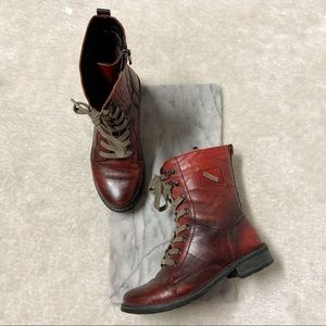 Kazkobut Red Ankle Moto Lace Up Boots Sz 7.5 Faux Leather